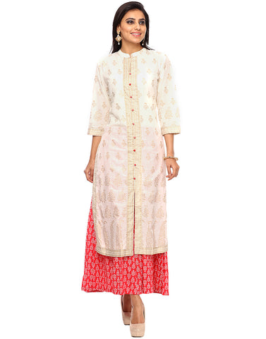 Khari Printed Cotton Kurti With Palazzo By Meena Bazaar