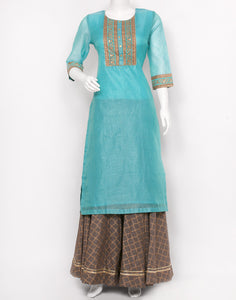Firozee Grey Cotton Chanderi Kurti with Skirt