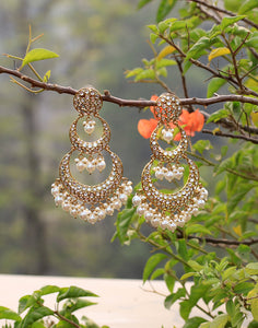 Diamond Studded Chandbali Earrings In Gold Finish