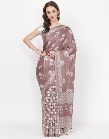 Brown Printed Satin Saree