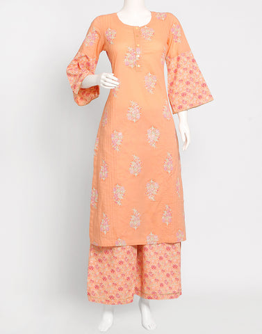 Orange Cotton Kurti with Palazzo