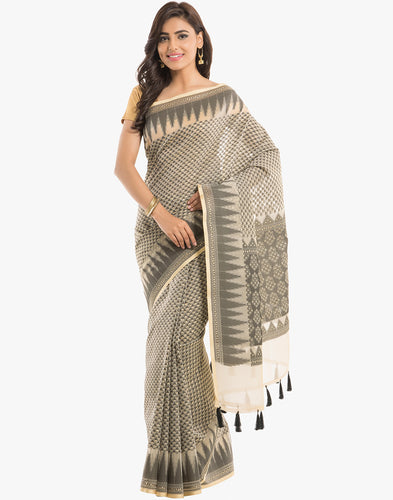 Cotton Kora Saree With All-over Floral Woven Booti By Meena Bazaar