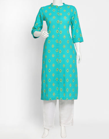 Lake Blue Cotton Kurti