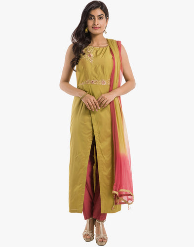 Meena Bazaar: Cotton Chanderi Suit With Floral Embroidery