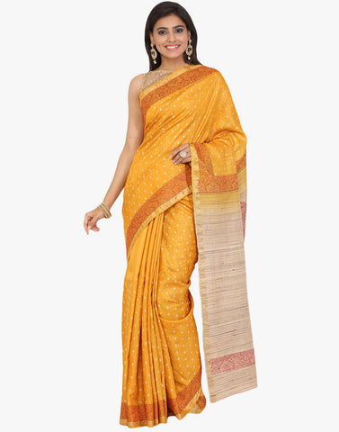 Tussar Saree With All-Over Floral Thread Embroidered Bootis By Meena Bazaar