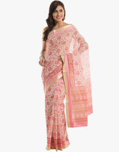 Cotton Saree With All-over Floral Print By Meena Bazaar