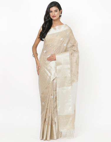 Beige Cotton Tissue Saree
