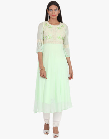 Georgette Suit With Thead Embroidery On Yoke By Meena Bazaar