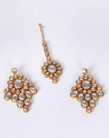 Gold Plated Kundan Mang Tikka with Earrings