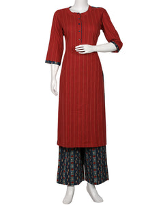 Maroon & Blue Cotton Kurti with Palazzo