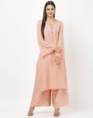 Peach Georgette Kurti with Palazzo