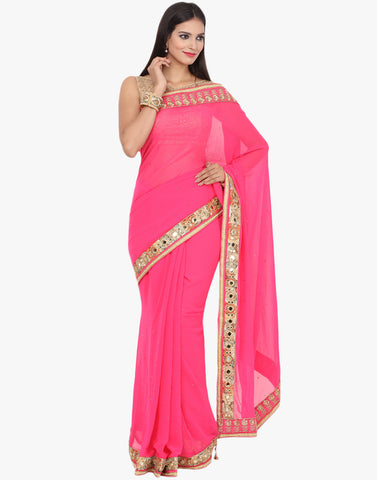 Georgette Saree With Zari Embroidery And Mirror Work By Meena Bazaar