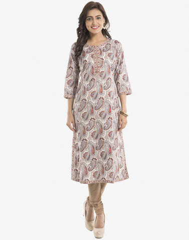Cotton Kurti With Abstract Paisley Print By Meena Bazaar