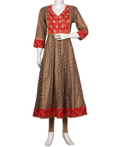 Grey Red Cotton Kurti