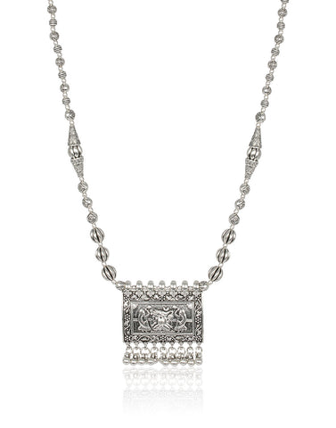 Traditional Necklace In Oxidised Silver By Meena Bazaar