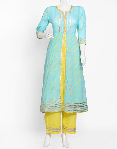 Firozee Yellow Cotton Kurti with Palazzo