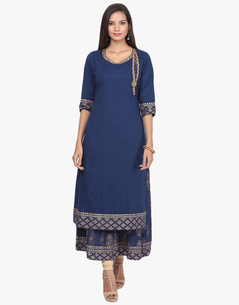 Embroidered Double layered Cotton Kurti By Meena Bazaar