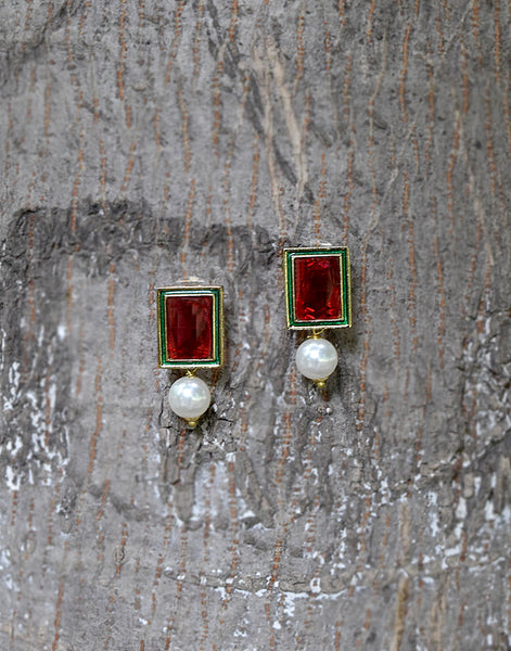 Meena Bazaar : Ruby Stone Studs With Pearl Drops