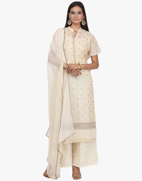 Semi- Stitched Embroidered Cotton Tissue Palazzo Suit By Meena Bazaar