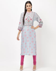 Sky Blue Cotton Kurti