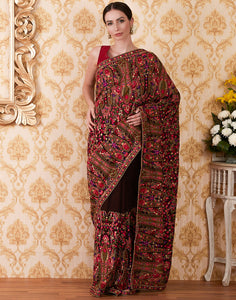 Brown Art Georgette Embroidered Saree