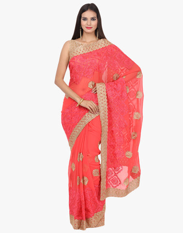 Georgette Saree With Zari and Resham Thread Embroidery By Meena Bazaar