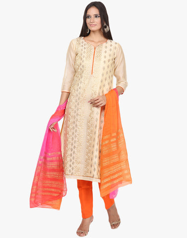 Unstitched Embroidered Cotton Chanderi Suit By Meena Bazaar