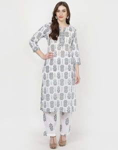 White Sea Green Cotton Kurti with Palazzo