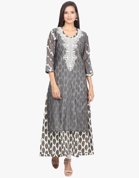 Double Layered Embroidered Cotton Chanderi Suit By Meena Bazaar