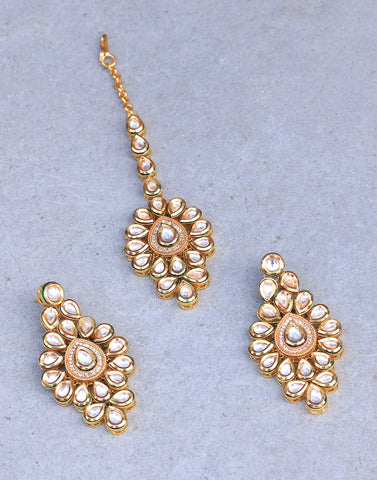 Gold Plated Tikka With Earrings