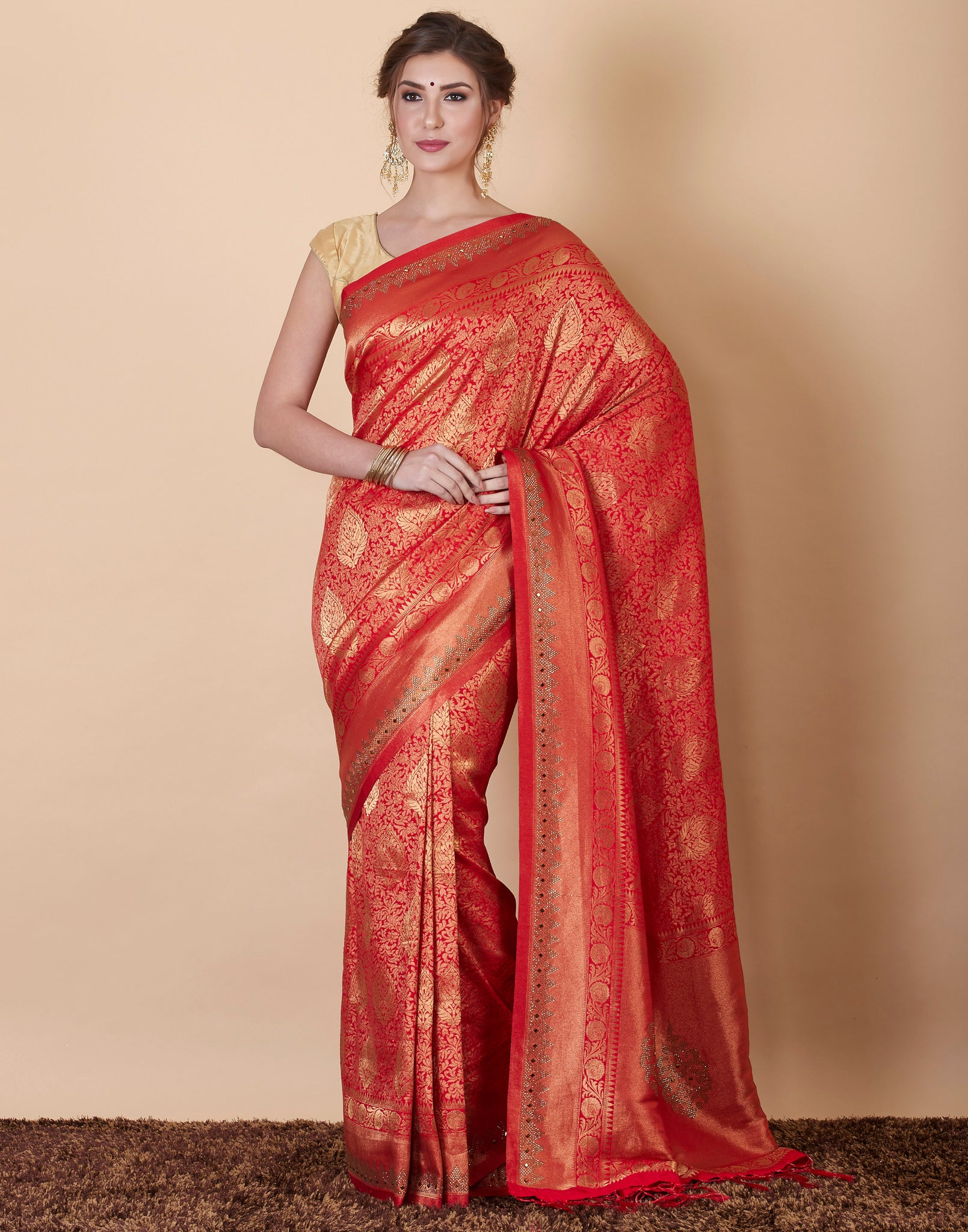 Red Art Handloom Embroidered Woven Saree