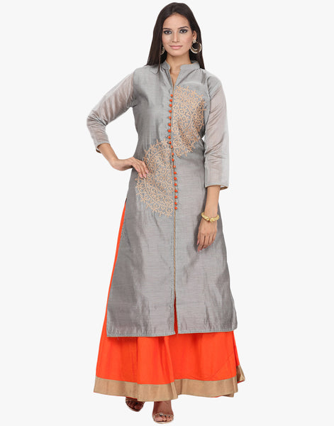 Semi Stitched Embroidered Achkan Style Suit By Meena Bazaar