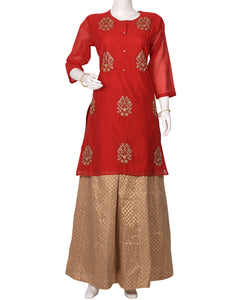 Red Cotton Chanderi Kurti with Palazzo