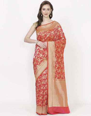 Red Banarasi Art Handloom Saree