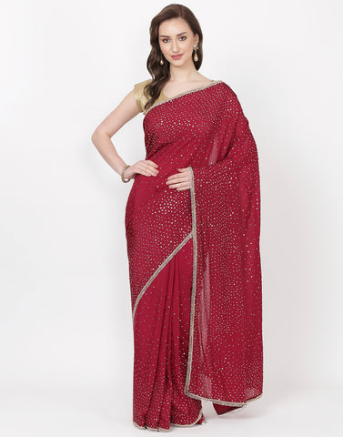 Wine Embroidered Satin Saree