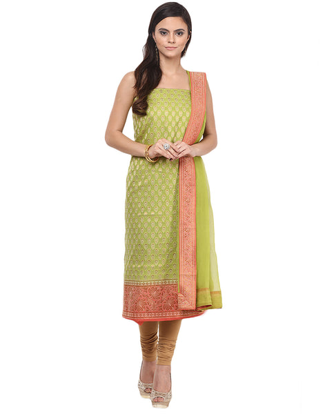 Unstitched Cotton Chanderi suit With Woven Zari Bootis By Meena Bazaar