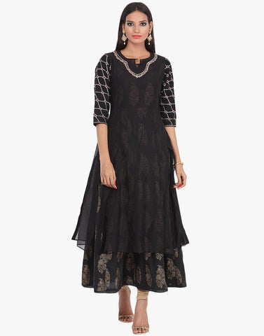 Double Layered Khari Printed Cotton Chanderi Kurti By Meena Bazaar