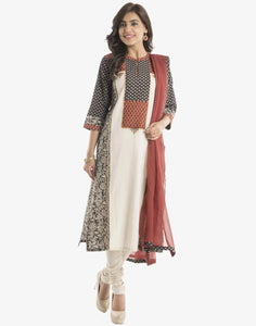Meena Bazaar: Printed Cotton Chanderi Suit