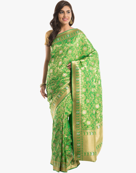 Banarasi Handloom Silk Saree With All-over Floral Jaal By Meena Bazaar