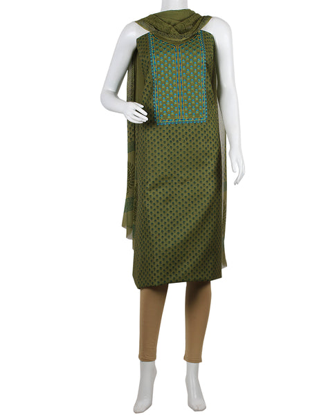 Green Cotton Tusser Suit Set