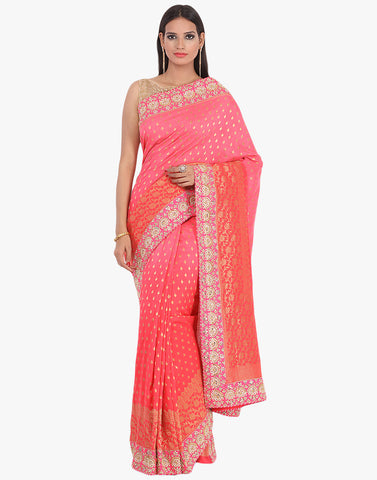 Half & Half Handloom Silk Woven Saree Handcrafted With Gotta Work Border By Meena Bazaar