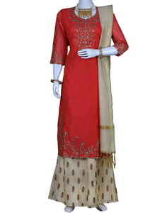 Coral Cotton Chanderi Salwar Kameez