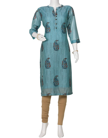 Sky Blue Cotton Chanderi Kurti