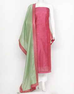 Pink Pista Green Cotton Chanderi Suit Set