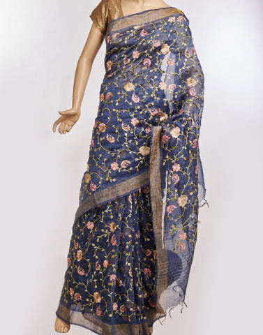 Navy Blue Cotton Linnen Saree