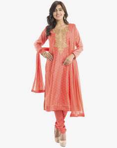 Meena Bazaar: Peach colour Cotton Chanderi Suit With Embroidered Yoke