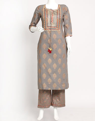Grey Cotton Kurti with Palazzo