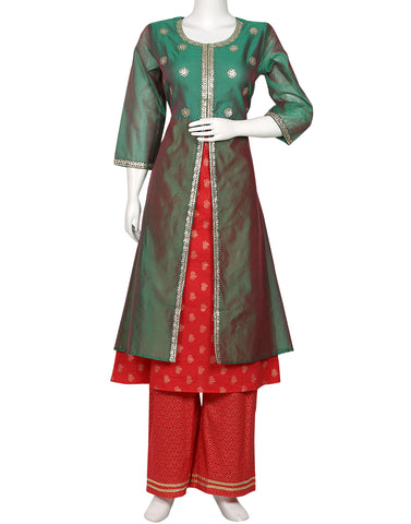 Green Rani Cotton Chanderi Kurti with Palazzo