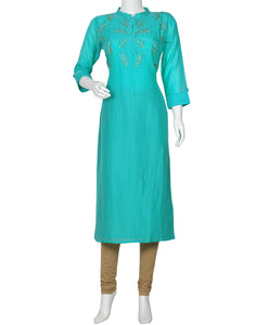 Sea Green Cotton Chanderi Kurti