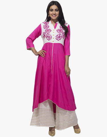 Assymetrical Cotton Kurti With Mirror Work Embroidery By Meena Bazaar